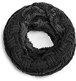 Grin&Bear warmer weicher Loop Schal mit Strick Muster und weichem Fleece Innenfutter A21-6