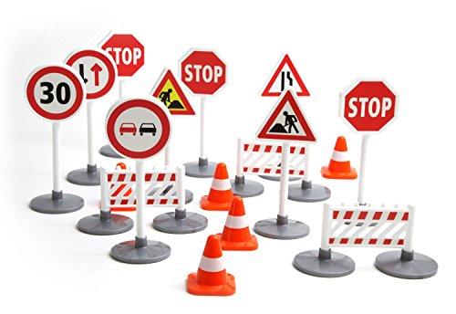 Lena 04440 - Verkehrszeichen Set mit 17 Teilen, mit 9 Verkehrsschilder ca. 16 cm, 5 Pylonen und 3 Bauzäunen, optimal für Lena Spielfahrzeuge Truxx, Worxx, Truckies, EcoAktives, Aktive und andere