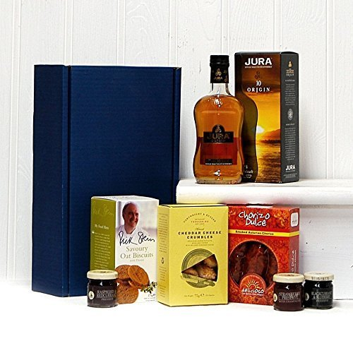 Luxury Jura Whisky Ultimate Gents Delights Gift Hamper - Includes 350ml Jura Origin 10 Year Old Single Malt Scotch Whisky & Treats - Gift Ideas for Valentines, Mother's Day, Birthday, Anniversary, Business and Corporate