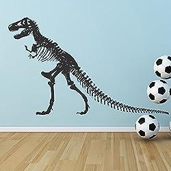T-Rex Esqueleto de la silueta del dinosaurio prehistórico Pegatinas de Pared niños Adhesivos dormitorio disponible en 5 tamaños y 25 colores Mediano Negro
