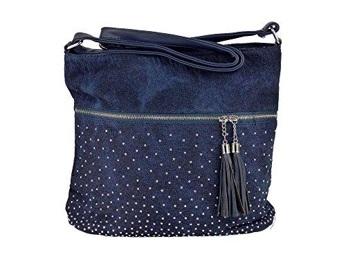 Schöne Jeans Umhängetasche mit 2 Troddeln und kleinen Steinchen/Nieten - Glitzereffekt - Damen Mädchen Teenager Tasche - Used Look Style - Maße ohne Henkel 34x29x11 cm (dunkelblau)