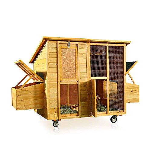 Melko® XXL Hühnerstall Hühnerhaus mit abnehmbaren Dach, 214 x 108 x 125 cm, aus Holz, rollbar, 2 Nestboxen