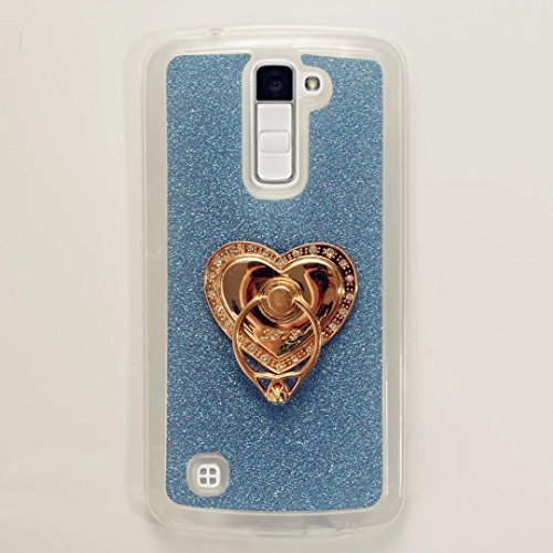 MUTOUREN TPU Silikon Hülle für LG K10 Bling Glitzer Handyhülle Schutzhülle Etui Protective Case Cover Rück mit Ring Anti-Handytasche Bumper-Blau