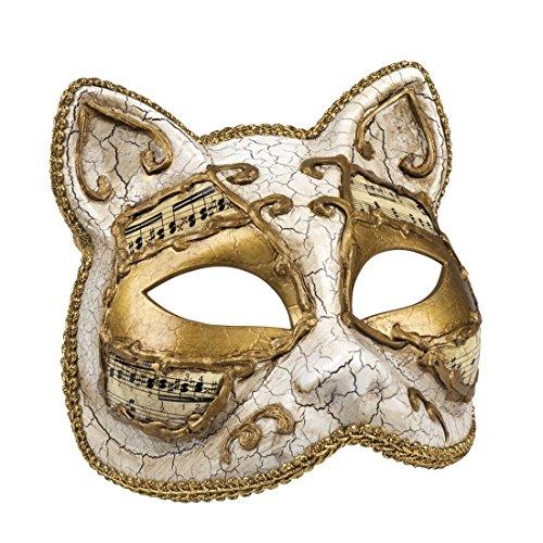 erdbeerclown- Damen Kostümzubehör: Venezianische Maske, Katze, Weiß