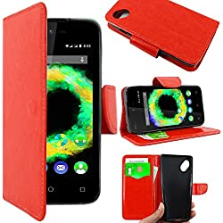 ebestStar - Coque Wiko Sunny 1 (2016) et Sunset 2 (2015) Etui PU Cuir Housse Portefeuille Porte-Cartes Support Stand, Rouge [Appareil: 128 x 65.6 x 10.9mm, 4.0'']