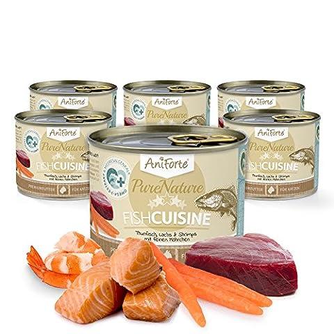 AniForte® PureNature Katzenfutter Fish Cuisine 6 x 190g - Naturprodukt für Katzen (Terra Bio-zucker)