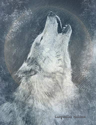 on sale 88d24 af302 Composition Notebook  White Wolf Blue Moon, Large Composition Notebook  College Ruled