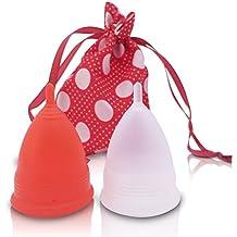 Menstruationstasse AvaLoona Doppelpack mit gratis Beutel | versch. Farben und Größen | Menstruationskappe aus med. Silikon | BPA-frei | Menstruationsbecher (groß, Erdbeere)