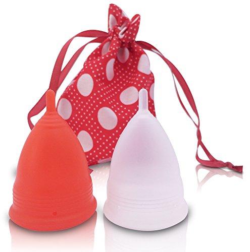 AvaLoona Menstruationstasse Doppelpack aus medizinischem Silikon mit Beutel (klein, Erdbeere, 2 Menstruationskappen)
