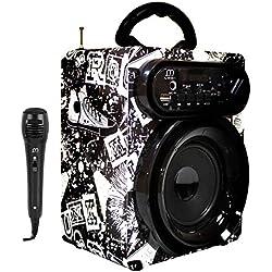 Altavoz Karaoke Reproductor con Micrófono Radio FM Portátil Inalámbrico USB TF Card Recargable con Mando