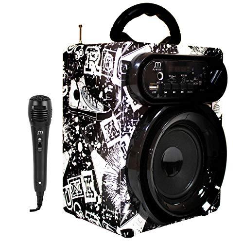 Altavoz Karaoke con Micrófono Radio FM Portátil Inalámbrico USB TF Card Recargable con Mando