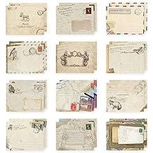 Juego de 12 Mini sobres Vintage estilo Kraft papel diseños distintos