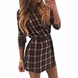 QIYUN.Z Clasica Dama Otono Comprobo El Vestido Camisa Delgada Falda Larga Sin Mangas