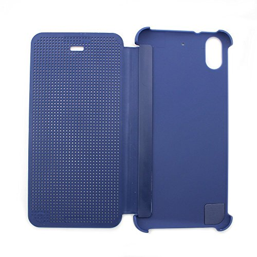 Defender Premium Best DOT VIEW Bumper Touch Flip Case Cover with Sensor for HTC Desire 626G Plus (626G+) - Blue