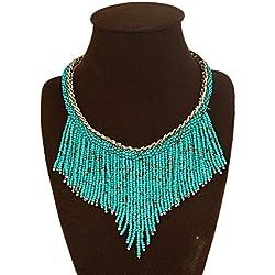 DELEY Bohemio de Acrílico de la Semilla de Perlas de la Borla Grueso Collar de Gargantilla Declaración Collar Colgante Verde