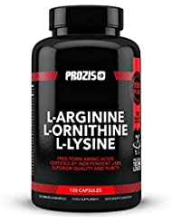 Prozis L-Arginine L-Ornithine L-Lysine pure en gélules - Complexe d'acides aminés libres pour une meilleure santé cardiaque, la perte de poids et l'énergie - Booster d'oxyde nitrique - 120 gélules !