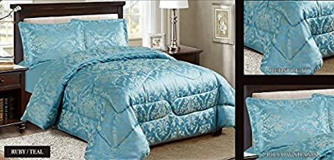 New Modern Design Luxury 3 Piece Heavy Jacquard Quilted Floral Pattern Bedspread Comforter Bed Set, Pillow Shams Double King Super King Size (SUPER KING, RUBY TEAL)