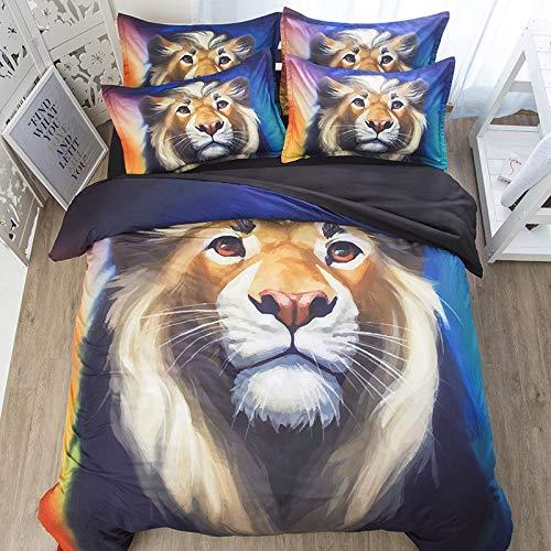 Hllhpc Europe Europe et Les États-Unis Vent dominateur Lion King été Han Coton Housse de Couette Dessin animé Coton Housse de Couette 1.5m Quatre pièces