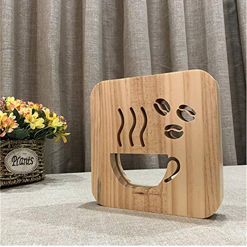 Nachtlicht 3D Kaffeetasse Form Holz Lampe Led Aushöhlen Warmweiß Tisch Usb Als Shop Büro Wohnkultur Freund Geschenk