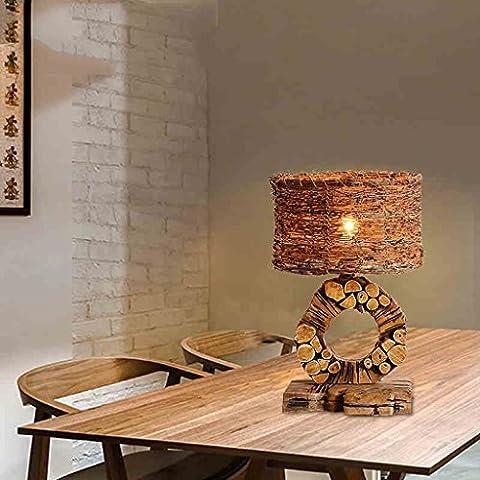 Lámpara de mesa americano retro creativa personalidad de la manera Dormitorio Lámparas de Villa Hotel Caña Ma Solid Wood Art lámpara de mesa