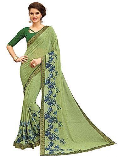 TAGLINE Faux Georgette Saree With Blouse Piece(Tag12004_Green Free Size)