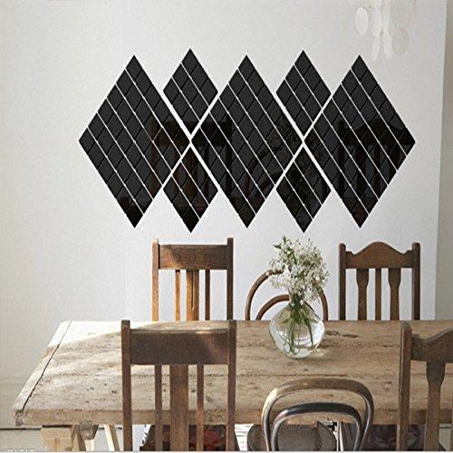 2 * 2CM Acryl Quadrat Kristall Stereo-Kombination Spiegel Wand klebte das Wohnzimmer Schlafzimmer Eingang kreative Modellierung Aufkleber, 100 schwarze Stücke, in -