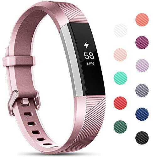 Onedream Compatible pour Fitbit Alta HR Bracelet/Alta Bracelets Femme Homme Remplacement Sport Or Rose (Pas de Tracker),S