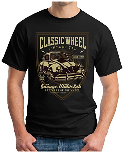 OM3 - Classic-Wheel - T-Shirt Vintage CAR Garage MOTOCLUB Oldschool Cult Geek Emo, 4XL, schwarz -