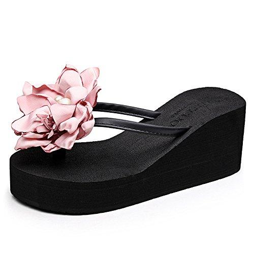 7cm Sandales Chaussures de plage flip flop pour femmes / filles (18-40 ans) ( Couleur : Beige , taille : EU36/UK4/CN36 ) Noir