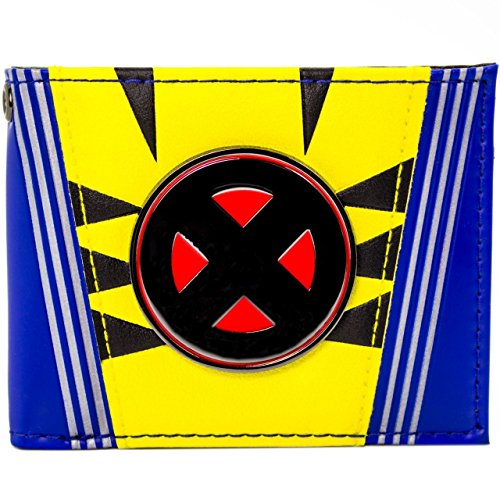 X-Men Metallic Logo Wolverine Anzug Blau Portemonnaie Geldbörse (X Men Anzüge)