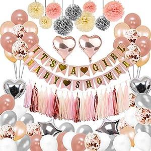 Toupons Geburtstag Dekorationen Baby Mädchen, Rosa und Gold Party Dekoration It's a Girl Baby Shower Dekorationen 108Pcs Banner Girlande Papier Pompons Folienquaste Luftballons Babydusche Deko