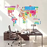 Syga Large World Map Original Wall Stickers (Wall Covering Area: 122Cm X 74Cm)