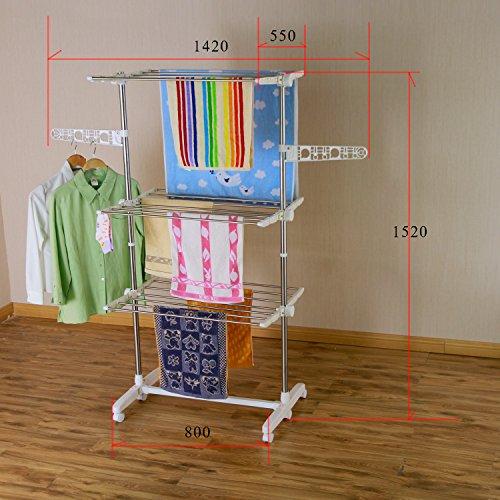 Luxus 3 Ebene Mobiler Wäscheständer klappbar Wäschetrockner-Turm (3 Ebene)
