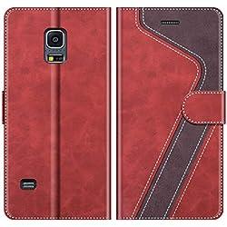 MOBESV Coque pour Samsung Galaxy S5 Mini, Housse en Cuir Samsung Galaxy S5 Mini, Étui Téléphone Samsung Galaxy S5 Mini Magnétique Etui Housse pour Samsung Galaxy S5 Mini, Élégant Rouge