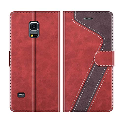 MOBESV Handyhülle für Samsung Galaxy S5 Mini Hülle Leder, Samsung Galaxy S5 Mini Klapphülle Handytasche Case für Samsung Galaxy S5 Mini Handy Hüllen, Modisch Rot