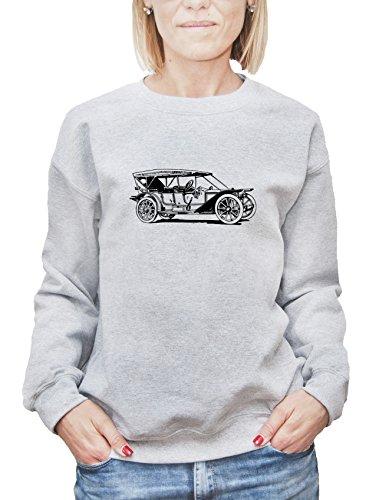 Felpa da donna con Retro Style American Car stampa. Large, Grigio