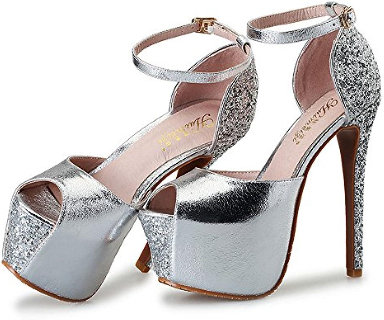 ZHIRONG Mujeres Peep Toe Strappy Plataforma Stiletto Señoras de tacón alto sandalias de la correa del tobillo...
