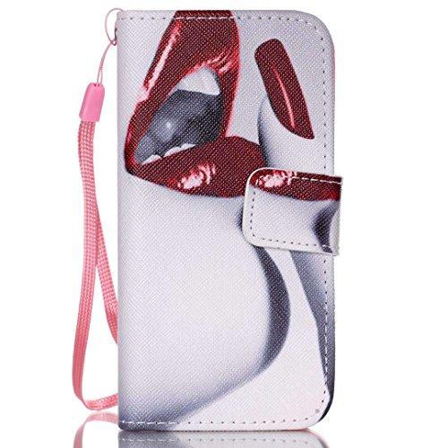 Apple iPhone 5/ 5S Hülle im Bookstyle, Xf-fly® PU Leder Flip Wallet Case Schutzhülle für Apple iPhone 5/ 5S Tasche Handytasche mit Magnetverschluss Kartenfach Standfunktion Muster Handyhülle P-5