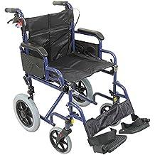 Aidapt Blue Deluxe - Silla de rueda asistida y de transporte, color negro
