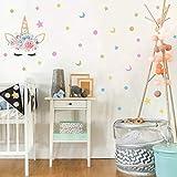 MAFENT Licorne Mignons Stickers Muraux- Licorn et Étoiles Amovible Autocollants Enfant Mural Stickers Chambre d'enfants (Rose, Bleu et doré)