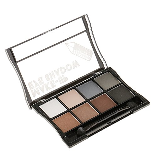 MagiDeal Waterproof 8 Assorted Colors Women Girls Eye Makeup Cosmetic Eyeshadow Palette Shimmer Matte Smoky Eye Shadow with Brush #8