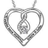 lovords Collar mujer grabada de Plata De ley 925Colgante de Corazón y Infinito regalo para Persona Cara Novia
