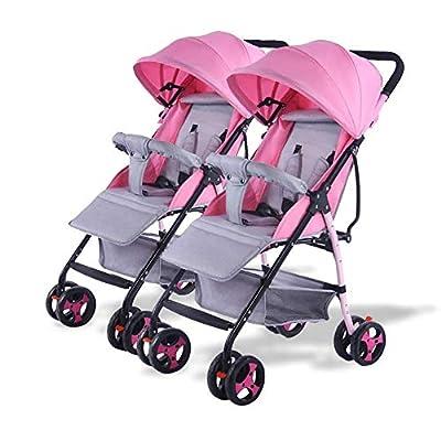 BAIF El Cochecito de bebé Gemelo, Carro Infantil Doble Desmontable Que invierte la manija Plegable Ligera de Empuje del Carro de bebé Ajustable