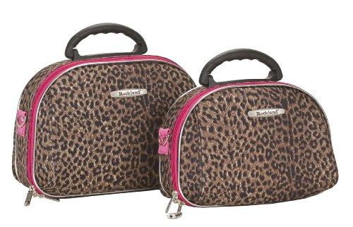 Rockland Ensemble Pivotante ABS Extensible De 2 PC De 20/28 PO Koffer-Set, 30 Liter, Pink Leopard