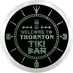 ncpm2263-g THORNTON Tiki Bar Pub Beer LED Neon Sign Wall Clock