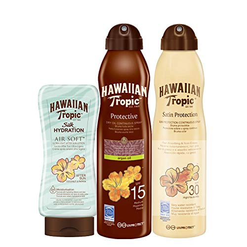 Tanning Accelerator (Hawaiian Tropic - Satin Schutzspray Lotion LSF 30, 220 ml + Oil Sonnenöl Continuous Spray LSF 15, 180 ml + Silk Hydration Air Soft After Sun 200ml)