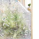 Rabbitgoo Statische Fensterfolie ALS Glas-Sichtschutzfolie, Milchglas-Folie, selbstklebend, Fenster-Dekoration, dick, Blumenmuster mit Tulpen für Zuhause, Küche, Büro, 60x 200cm