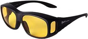 Rapid Eyewear Schwarze Nachtbrille Zum Autofahren Nachtsicht Überbrille Helle Gelb Linsen Mit Hd Anti Glanz Blaulichtfilter Damen Und Herren Sonnenüberbrille Für Auto Auch Winter Brille Sport Freizeit