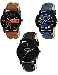 LEVERET D&S Fashion Analogue Black Dial Item Club Men's Watches-Combo Pack of 3