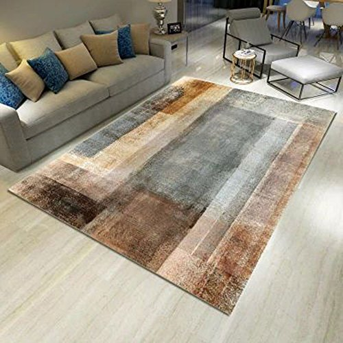 RUG LUYIASI- Einfacher moderner nordischer Art-Wohnzimmer-Couchtisch-Decke Sofa Rechteckige Blaue europäische Art Schlafzimmer-Nachtmatte Non-Slip Mat (Farbe : B, größe : 140x200cm) - Schwarz Moderner Couchtisch